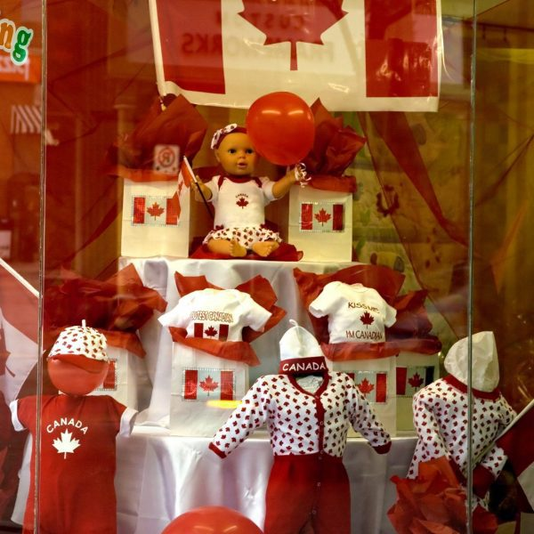 A window in downtown Orillia decked out for Canada Day
